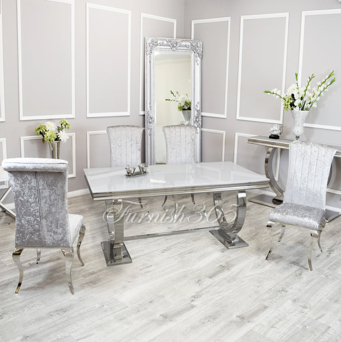 1.8m | White Glass | Arianna Dining Set | Nicole Chairs