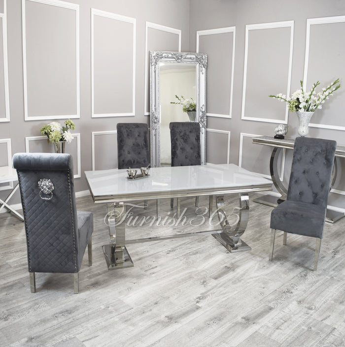 2m | White Glass | Arianna Dining Set | Emma Chairs