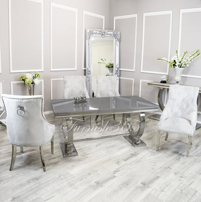 1.8m | Grey Glass | Arianna Dining Set | Duke Chairs