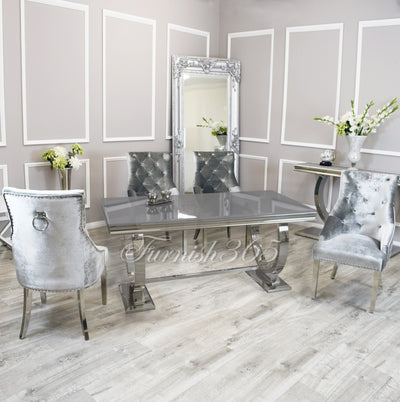 2m | Grey Glass | Arianna Dining Set | Duke Chairs