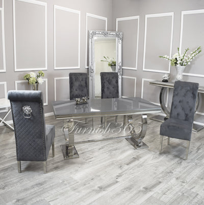 1.8m | Grey Glass | Arianna Dining Set | Emma Chairs