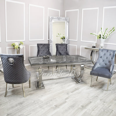 2m | Dark Grey Marble | Arianna Dining Set | Bentley Chairs