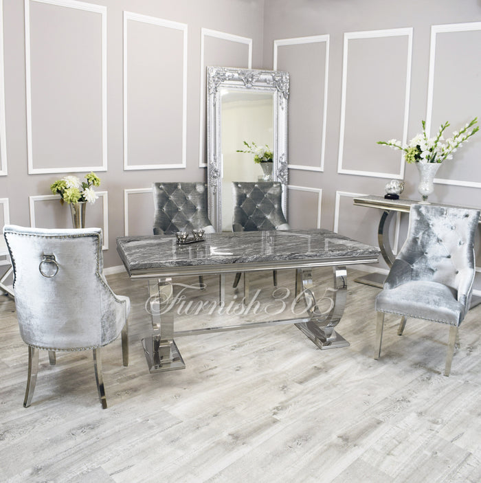 2m | Dark Grey Marble | Arianna Dining Set | Duke Chairs