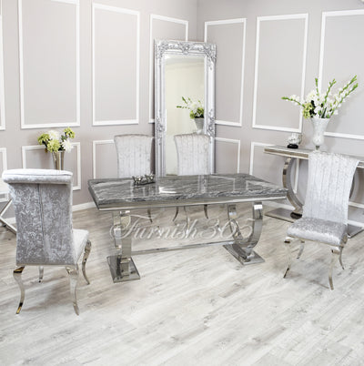 1.8m | Dark Grey Marble | Arianna Dining Set | Nicole Chairs