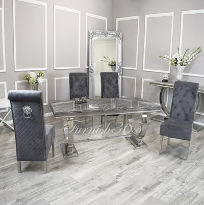 2m | Dark Grey Marble | Arianna Dining Set | Emma Chairs