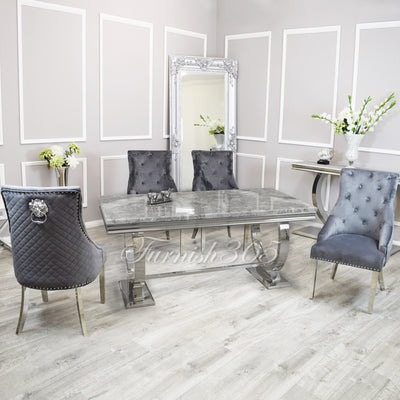 2m | Light Grey Marble | Arianna Dining Set | Bentley Chairs