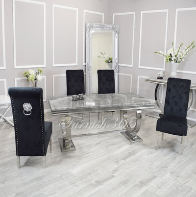 1.8m | Light Grey Marble | Arianna Dining Set | Emma Chairs