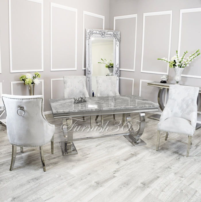 2m | Light Grey Marble | Arianna Dining Set | Duke Chairs