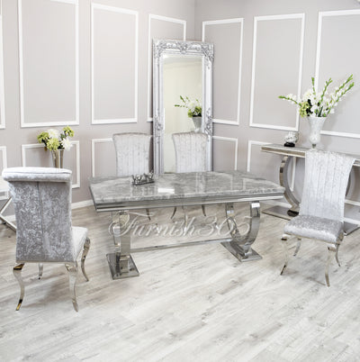 1.8m | Light Grey Marble | Arianna Dining Set | Nicole Chairs
