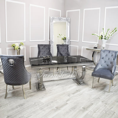 2m | Black Marble | Arianna Dining Set | Bentley Chairs
