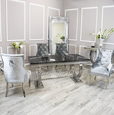 1.8m | Black Marble | Arianna Dining Set | Duke Chairs