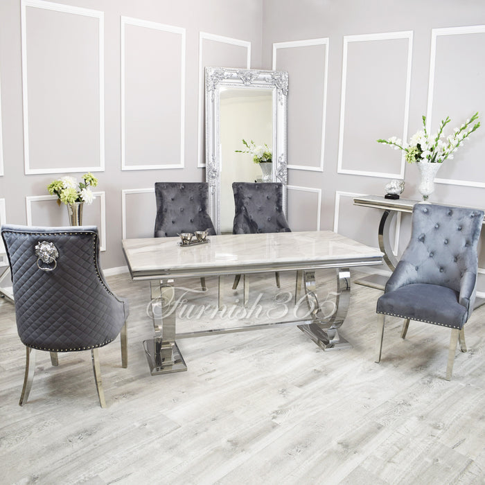 2m | Ivory Smoke Marble | Arianna Dining Set | Bentley Chairs