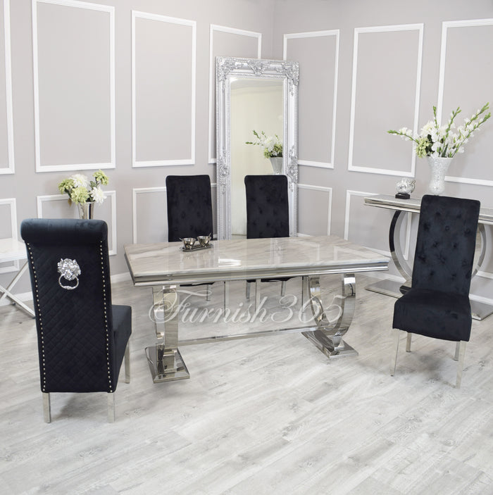 1.8m | Ivory Smoke Marble | Arianna Dining Set | Emma Chairs