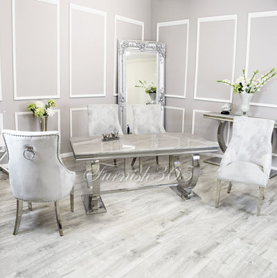 1.8m | Ivory Smoke Marble | Arianna Dining Set | Duke Chairs