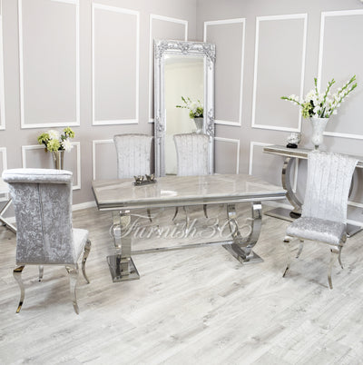 2m | Ivory Smoke Marble | Arianna Dining Set | Nicole Chairs
