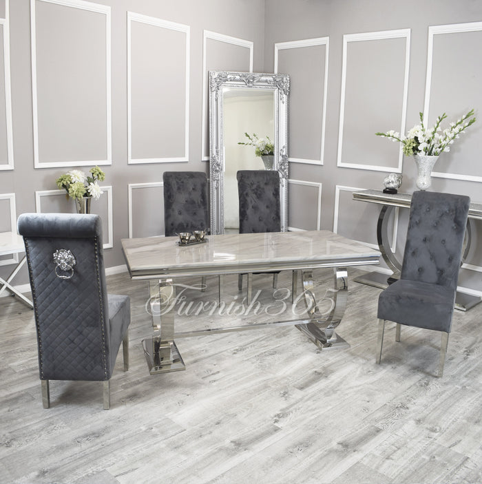 2m | Ivory Smoke Marble | Arianna Dining Set | Emma Chairs