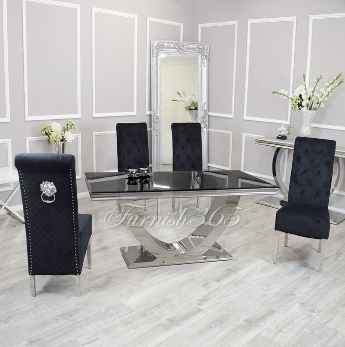 1.8m | Black Glass | Arial Dining Set | Emma Chairs