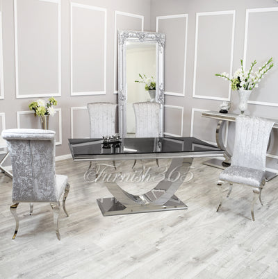 1.8m | Black Glass | Arial Dining Set | Nicole Chairs