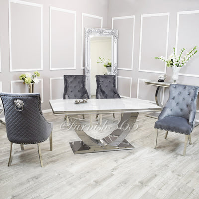 1.8m | White Glass | Arial Dining Set | Bentley Chairs