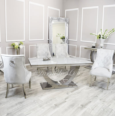 1.8m | White Glass | Arial Dining Set | Duke Chairs