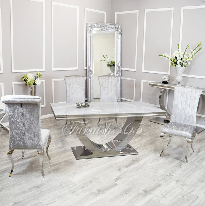1.8m | White Glass | Arial Dining Set | Nicole Chairs
