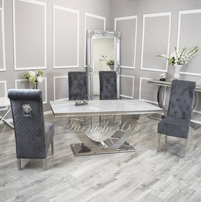 1.8m | White Glass | Arial Dining Set | Emma Chairs