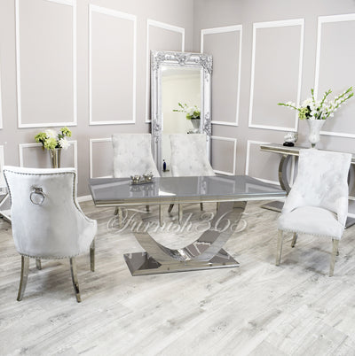 1.8m | Grey Glass | Arial Dining Set | Duke Chairs