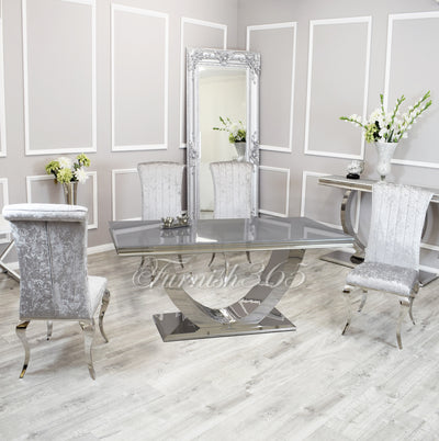 1.8m | Grey Glass | Arial Dining Set | Nicole Chairs