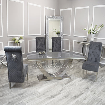 1.8m | Grey Glass | Arial Dining Set | Emma Chairs