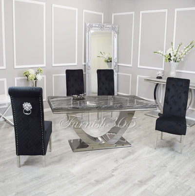 1.8m | Dark Grey Marble | Arial Dining Set | Emma Chairs