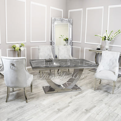 1.8m | Dark Grey Marble | Arial Dining Set | Duke Chairs