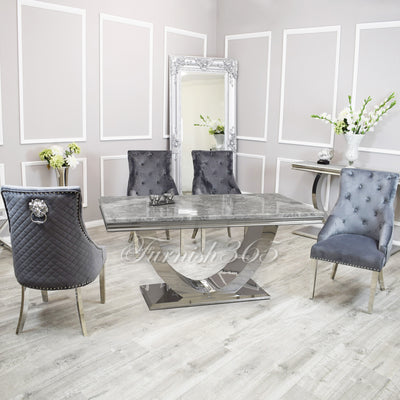 1.8m | Light Grey Marble | Arial Dining Set | Bentley Chairs