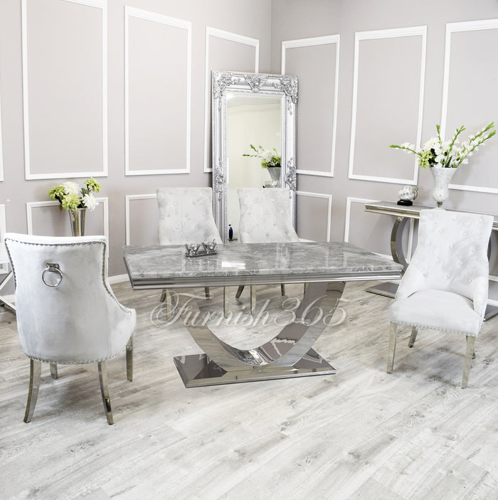 1.8m | Light Grey Marble | Arial Dining Set | Duke Chairs