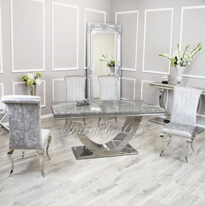 1.8m | Light Grey Marble | Arial Dining Set | Nicole Chairs