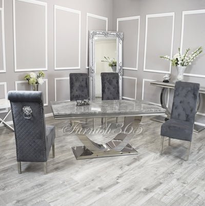 1.8m | Light Grey Marble | Arial Dining Set | Emma Chairs