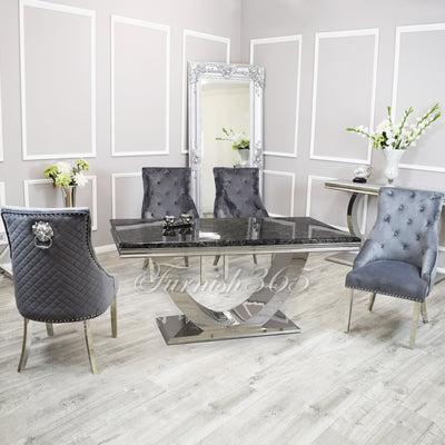 1.8m | Black Marble | Arial Dining Set | Bentley Chairs