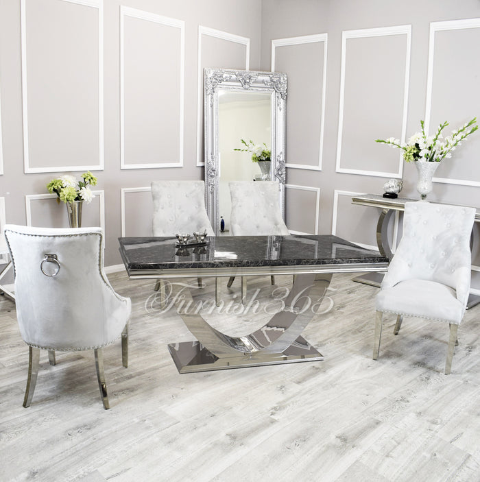 1.8m | Black Marble | Arial Dining Set | Duke Chairs