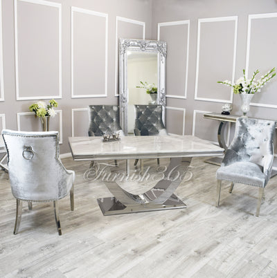 1.8m | Ivory Smoke Marble | Arial Dining Set | Duke Chairs