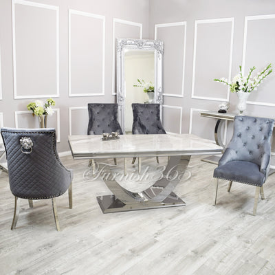 1.8m | Ivory Smoke Marble | Arial Dining Set | Bentley Chairs