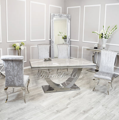 1.8m | Ivory Smoke Marble | Arial Dining Set | Nicole Chairs