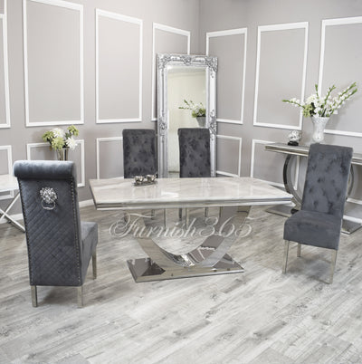 1.8m | Ivory Smoke Marble | Arial Dining Set | Emma Chairs