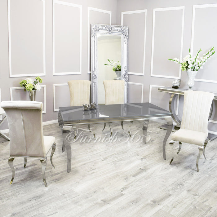 1.6m | Grey Glass | Louis Dining Set | Nicole Chairs