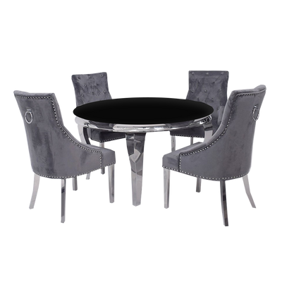 1.3m Round | Black Glass | Louis Dining Set | Duke Chairs