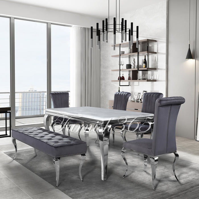 1.8m | Ivory Smoke Marble | Louis Dining Set | Nicole Chairs
