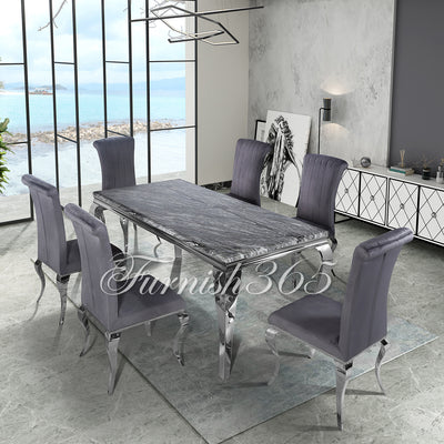 2m | Dark Grey Marble | Louis Dining Set | Nicole Chairs