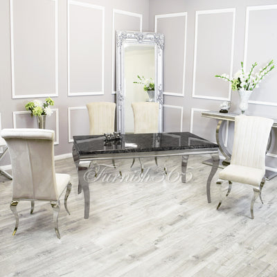 1.8m | Black Marble | Louis Dining Set | Nicole Chairs