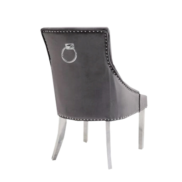 Duke Plain Back Ring Knocker Chair Stainless Steel Legs