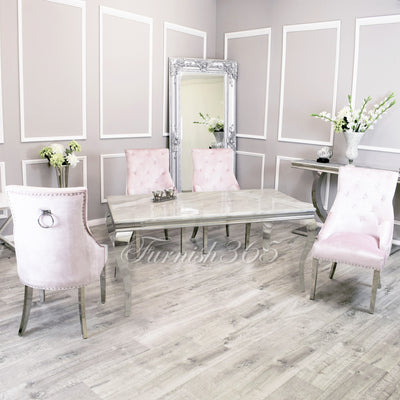 1.4m | Ivory Smoke Marble | Louis Dining Set | Duke Chairs