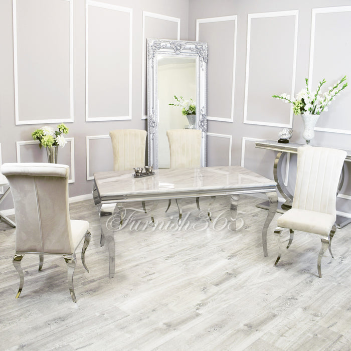 1.4m | Ivory Smoke Marble | Louis Dining Set | Nicole Chairs