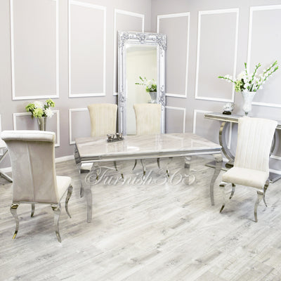 1.6m | Ivory Smoke Marble | Louis Dining Set | Nicole Chairs